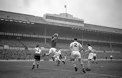 File photo dated 24-03-1956 of Manchester City goalkeeper Bert Trautmann catches the ball during the game against Tottenham Hotsupr at White Hart Lane.