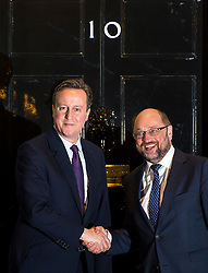 © Licensed to London News Pictures. 04/02/2016. London, UK. British prime minister DAVID CAMERON greets President of the European Parliament MARTIN SHULZ at number 10 Downing Street in London as negotiations continue to finalise details of an EU reform. Photo credit: Ben Cawthra/LNP