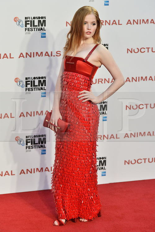 © Licensed to London News Pictures. 14/10/2016.  ELLIE BAMBER attends the Nocturnal Animals film premiere of as part of the London Film Festival. London, UK. Photo credit: Ray Tang/LNP