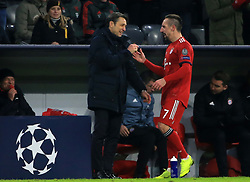 27.11.2018, Champions League  Saison 2018/ 2019, . Bayern vs Benfica Lissabon, Allianz Arena, Muenchen, Sport, im Bild:..FCB Trainer Nico Kovac  (FCB) und Franck Ribery (FCB) haben gute Laune..DFL REGULATIONS PROHIBIT ANY USE OF PHOTOGRAPHS AS IMAGE SEQUENCES AND / OR QUASI VIDEO...Copyright: Philippe Ruiz..Tel: 089 745 82 22.Handy: 0177 29 39 408.e-Mail: philippe_ruiz@gmx.de. (Credit Image: © Philippe Ruiz/Xinhua via ZUMA Wire)
