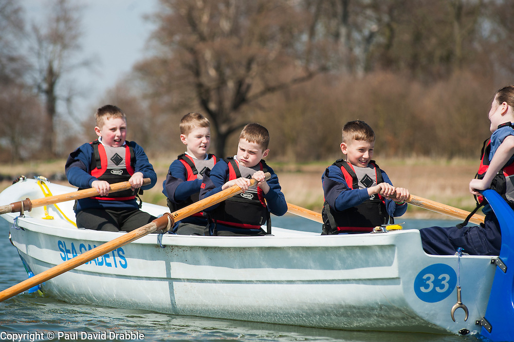 Worksop Sea Cadets and Royal Marines Cadets .taking part in a row-a-thon up and down Welbeck Lake, as part of a national fund raising campaign to build a new ship to replace the charity's iconic flagship, TS Royalist now over 40 years old..20 April  2013.Image © Paul David Drabble