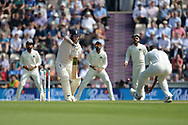 Ben Stokes of England plays a defensive shot back to Hardik Pandya during the first day of the 4th SpecSavers International Test Match 2018 match between England and India at the Ageas Bowl, Southampton, United Kingdom on 30 August 2018.