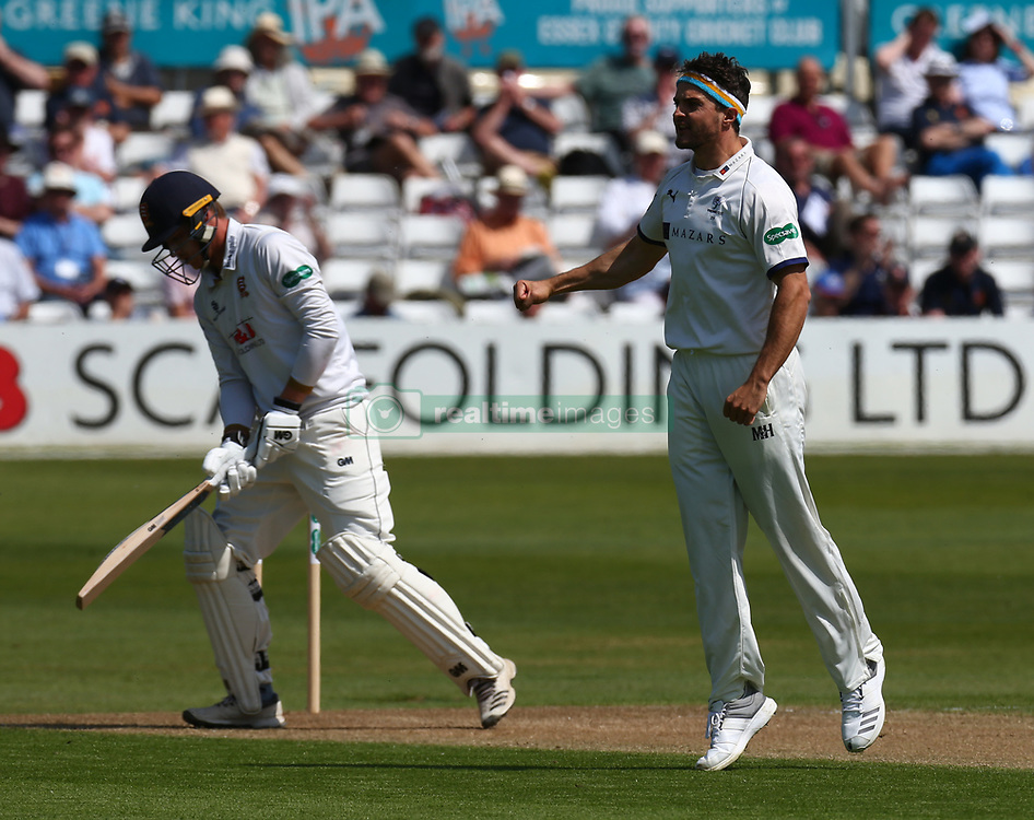 May 4, 2018 - Chelmsford, Greater London, United Kingdom - Essex's Tom Westley gets bowled by Yorkshire's Jack Brooks.during Specsavers County Championship - Division One, day one match between Essex CCC and Yorkshire CCC at The Cloudfm County Ground, Chelmsford, England on 04 May 2018. (Credit Image: © Kieran Galvin/NurPhoto via ZUMA Press)