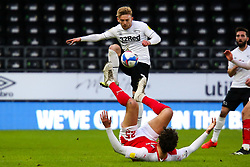 Matt Crooks of Rotherham United loses out in the tussle against Kamil Jozwiak of Derby County - Mandatory by-line: Ryan Crockett/JMP - 16/01/2021 - FOOTBALL - Pride Park Stadium - Derby, England - Derby County v Rotherham United - Sky Bet Championship
