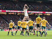 Twickenham, United Kingdom. Courtney LAWES, catces a cleab ball in the line, during the Old Mutual Wealth Series Rest Match: England vs Australia, at the RFU Stadium, Twickenham, England, <br /> <br /> Saturday  03/12/2016<br /> <br /> [Mandatory Credit; Peter Spurrier/Intersport-images]