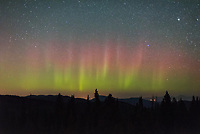After 3 straight nights of seeing the aurora, I thought the show was over. When it first got dark, there was nothing to the north. But before going to sleep I checked again and there were red and green pillars dancing. Being at 7400' certainly helped with the view, I'm sure it wasn't this visible down below.