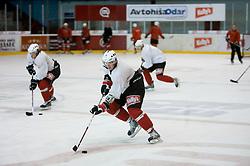 Members of HK Acroni Jesenice ice-hockey team for season 2008/2009 at practice in Arena Podmezaklja, Jesenice, on September 24, 2008. (Photo by Vid Ponikvar / Sportal Images)