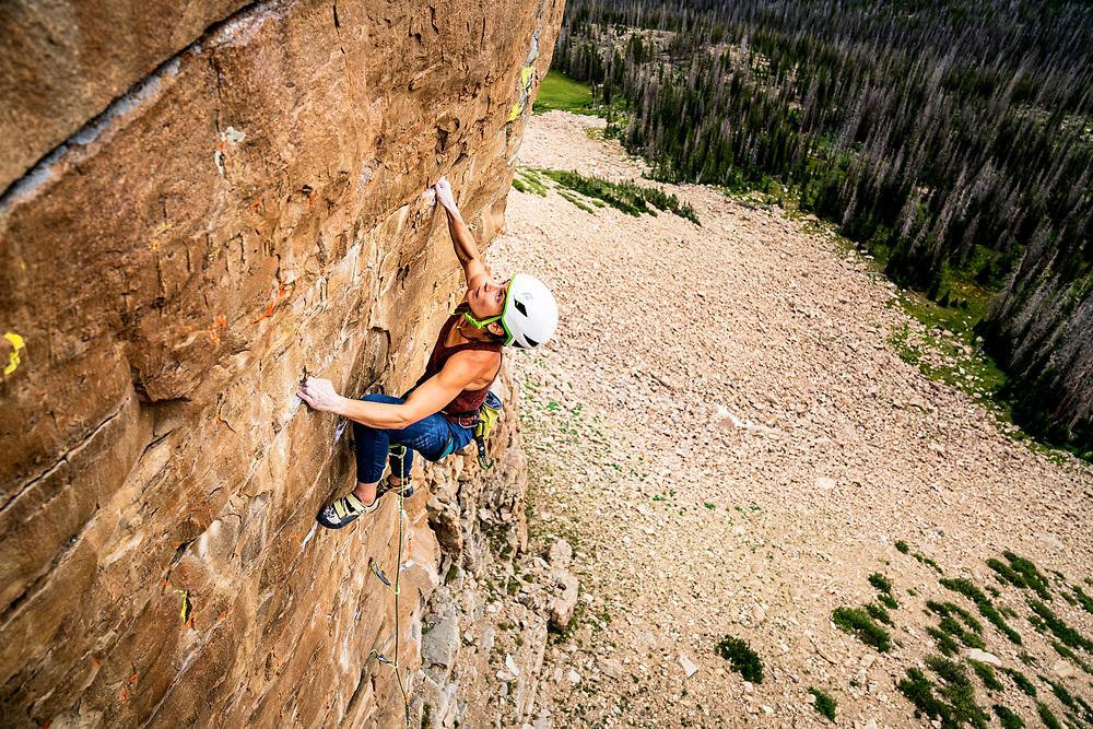 Esther Smith sparks things up on Ride the Lightning, 5.12, Uinta Range, Utah.