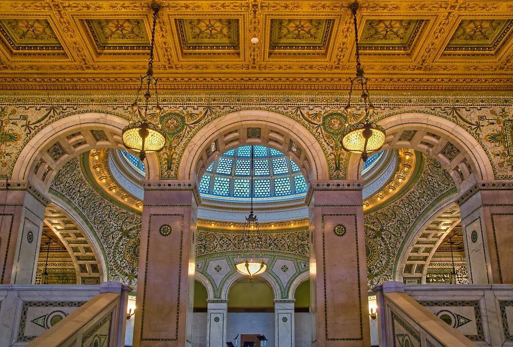 The Chicago Cultural Center, Chicago, Illinois. Historic preservation. Formerly the Chicago Public Library and Grand Army of the Republic war memorial.