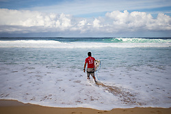 December 11, 2017 - Haleiwa, Hawaii, U.S. - Adriano Desousa of Brazil ready for round one heat 7 of the 2017 WSL Billabong Pipe Masters at Pipeline, Oahu, Hawaii, USA..Billabong Pipe Masters 2017. (WSL via ZUMA Wire/ZUMAPRESS.com)