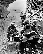 World War I: United States Army Signal Corps using captured German telephone equipment. Photograph.  Signal Corps Museum, Fort Monmouth, New Jersey.