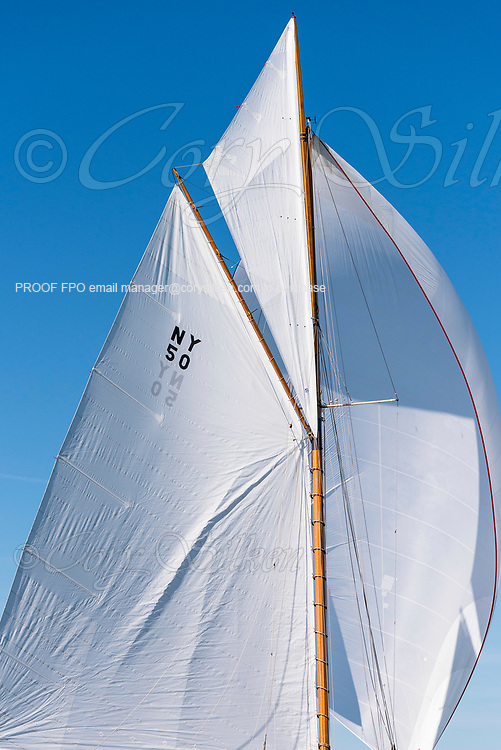 Marilee sailing in the Newport Classic Yacht Regatta, day one.