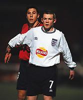 Wayne Rooney - England. England U15's v Spain U15's. Under 15's International Tournament, Rushden & Diamonds, 9/2/2001. Credit: Colorsport / Andrew Cowie.