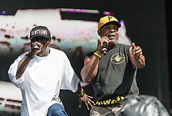 © Licensed to London News Pictures. 26/08/2012.  London, UK.  Chuck D (right) and Flavour Flav (Left)  of Public Enemy live at South West Four/SW4 on Clapham Common during the August Bank Holiday Weekend.  Photo credit : Richard Isaac/LNP