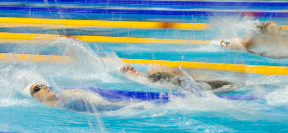 Swimmers are competing in the Womens Open 100m Backstroke - Final, during the British Gas Swimming Championships 2012 (Selection Trials) at the Aquatics Centre in the Olympic Park, in London, 04 March 2012. BOGDAN MARAN / BPA