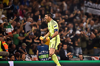 Gianluigi Buffon of Juventus celebrates after Mario Mandzukic of Juventus scores the equaliser during the UEFA Champions League Final match between Real Madrid and Juventus at the National Stadium of Wales, Cardiff, Wales on 3 June 2017. Photo by Giuseppe Maffia.<br /> <br /> Giuseppe Maffia/UK Sports Pics Ltd/Alterphotos