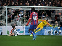 Football - 2019 / 2020 Emirates FA Cup - Third Round: Crystal Palace vs. Derby County<br /> <br /> Chris Martin of Derby scores his first half goal past Wayne Hennessey, at Selhurst Park.<br /> <br /> COLORSPORT/ANDREW COWIE