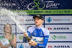 Aleksandr Vlasov (RUS) of Gazprom - Rusvelo  celebrates at trophy ceremony after 4th Stage of 26th Tour of Slovenia 2019 cycling race between Nova Gorica and Ajdovscina (153,9 km), on June 22, 2019 in Slovenia. Photo by Matic Klansek Velej / Sportida
