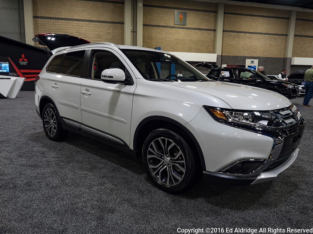 CHARLOTTE, NC, USA - NOVEMBER 17, 2016: Mitsubishi Outlander on display during the 2016 Charlotte International Auto Show at the Charlotte Convention Center in downtown Charlotte.