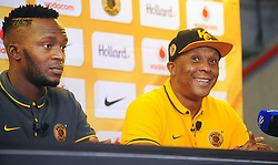 Cape Town - 151217 - Pictured left to right is Kaizer Chiefs defender, Morgan Gould and Kaizer Chiefs assistant coach, Doctor Khumalo. The Kaizer Chiefs held a press conference at the Cape Town Stadium ahead of their match against the Bidvest Wits on the 19th of December 2015. Reporter: Yolisa Tswanya Picture: David Ritchie