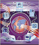 Conceptual illustration of how we are all connected via the internet