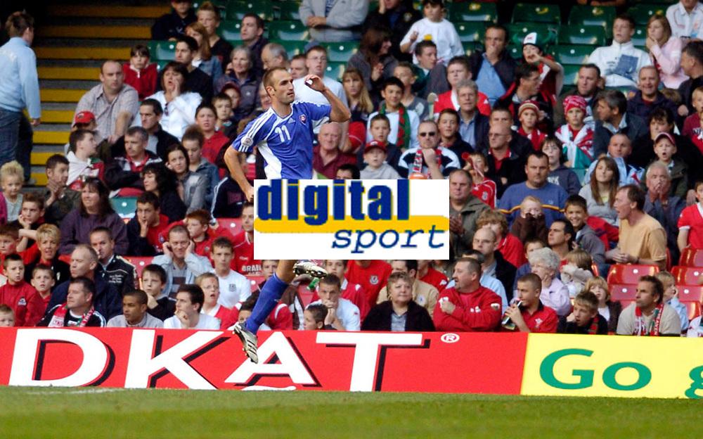 Photo: Leigh Quinnell.<br /> Wales v Slovakia. UEFA European Championships 2008 Qualifying. 07/10/2006. Robert Vittek celebrates scoring goal number five for Slovakia.