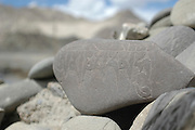 northern India, Buddhist Mantra escribed on rocks