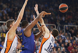 November 17, 2017 - Barcelona, Catalonia, Spain - Guillem Vives, Kevin  Seraphin and Tibor Weiss during the match between FC Barcelona v Anadolou Efes corresponding to the week 8 of the basketball Euroleague, in Barcelona, on November 17, 2017. (Credit Image: © Joan Valls/NurPhoto via ZUMA Press)