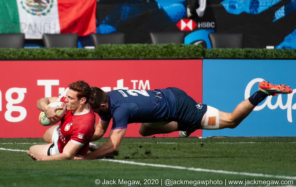 M29 - England and Fiji compete in the Cup Quarter Final of the 2020 Los Angeles Sevens at Dignity Sports Health Park in Los Angeles, California. March 1, 2019. <br /> <br /> © Jack Megaw, 2020