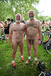 © Licensed to London News Pictures. 14/08/2021.) London, UK.  Craig his partner (another Craig) pose ahead of the annual naked bike bike in Hyde Park Marble Arch.  Photo credit: Guilhem Baker/LNP