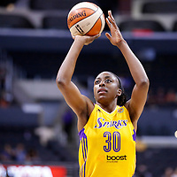 24 August 2014: Los Angeles Sparks forward Nneka Ogwumike (30) is seen at the free throw line during the Phoenix Mercury 93-68 victory over the Los Angeles Sparks, in a Conference Semi-Finals at the Staples Center, Los Angeles, California, USA.