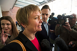 © London News Pictures. 16/05/2015. Yvette Copper surrounded by media as she arrives at Progress Annual Conference held at TUC Congress House in London to discuss the labour leadership race following a heavy defeat in the recent general election..  Photo credit: Ben Cawthra/LNP