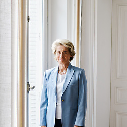Caroline Cayeux, Mayor of Beauvais (Divers Droite), posing at the headquarter of Federation des Villes de France (lit. French cities association) of which she's the president. Paris, France. May 21, 2019. <br /> Caroline Cayeux, maire de Beauvais (divers droite), prenant la pose au siege de la Federation des Villes de France dont elle est presidente. Paris, France. 21 mai 2019.