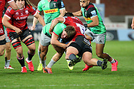 Harlequins Glen Young Gloucester's Franco Marais during the Gallagher Premiership Rugby match between Gloucester Rugby and Harlequins at the Kingsholm Stadium, Gloucester, United Kingdom on 14 September 2020.