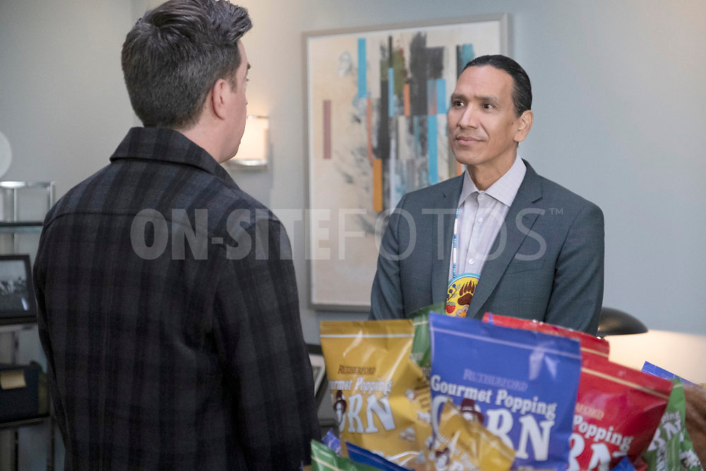 """RUTHERFORD FALLS -- """"Terry Thomas"""" Episode 104 -- Pictured: (l-r) Ed Helms as Nathan Rutherford, Michael Greyeyes as Terry Thomas -- (Photo by: Colleen Hayes/Peacock)"""