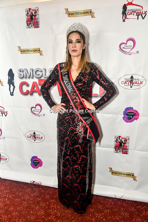 Top Model Tiana Sidor of Miss SMGlobal is a backstage at SMGlobal Catwalk - London Fashion Week F/W19 at Clayton Crown Hotel,  Cricklewood Broadway, on 1st March 2019, London, UK.