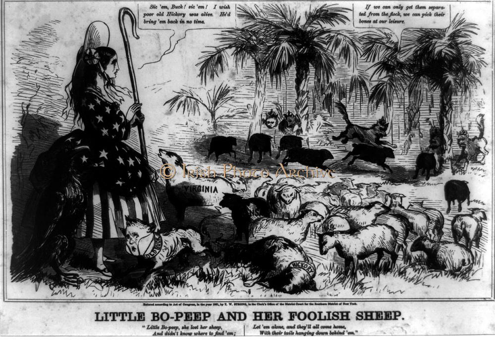 Little Bo-Peep and her Foolish Sheep 1861.  Second part of a series of caricatures criticizing the secession of several Southern states from the Union during the last months of the Buchanan administration.