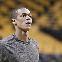 10 May 2012: Boston Celtics point guard Rajon Rondo (9) warms up prior to the Boston Celtics 83-80 victory over the Atlanta Hawks, in Game 6 of the Eastern Conference first-round playoff series, at the TD Banknorth Garden, Boston, Massachusetts, USA.