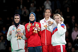BUENOS AIRES, Oct. 12, 2018  Gold medalist Fatima-Ezzahra Aboufaras (2nd L) of Morocco, silver medalist Kimia Hemati (1st L) of Iran, bronze medalists Kristina Adebaio (1st R) of Russia and Mu Wenzhe of China pose for photograph during the awarding ceremony of the women's +63kg of taekwondo at the 2018 Summer Youth Olympic Games in Buenos Aires, Argentina on Oct. 11, 2018. (Credit Image: © Li Ming/Xinhua via ZUMA Wire)
