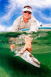 great barracuda, Sphyraena barracuda, Lewis Cut, Biscayne National Park, Florida, USA, Atlantic Ocean