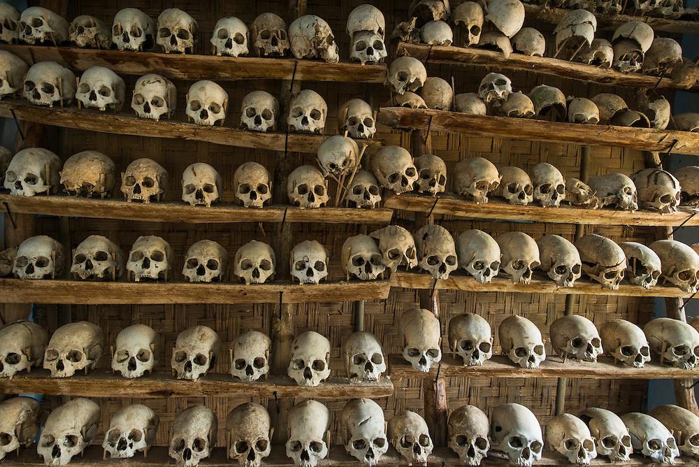 Konyak Naga head-hunted skulls<br /> Decorated with gibbon and monkey skulls<br /> Konyak Naga headhunting Tribe<br /> Mon district<br /> Nagaland,  ne India