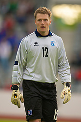 REYKJAVIK, ICELAND - Wednesday, May 28, 2008: Iceland's goalkeepr Fjalar Thorgeirsson during the international friendly match against Wales at the Laugardalsvollur Stadium. (Photo by David Rawcliffe/Propaganda)