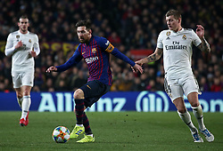 February 6, 2019 - Barcelona, Spain - Leo Messi and Toni Kroos during the match between FC Barcelona and Real Madrid corresponding to the first leg of the 1/2 final of the spanish cup, played at the Camp Nou Stadium, on 06th February 2019, in Barcelona, Spain. (Credit Image: © Joan Valls/NurPhoto via ZUMA Press)