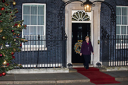 London, UK. 3 December, 2019. German Chancellor Angela Merkel leaves 10 Downing Street following a meeting between French President Emmanuel Macron and Turkish President Recep Tayyip Erdoğan hosted by Prime Minister Boris Johnson to discuss the ongoing dispute between France and Turkey following the Turkish invasion of Kurdish-controlled areas of northern Syria.