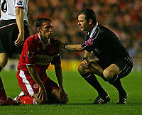 Fotball<br /> England 2004/2005<br /> Foto: SBI/Digitalsport<br /> NORWAY ONLY<br /> <br /> Middlesbrough v Fulham, Barclays Premiership, Riverside Stadium, Middlesbrough 19/04/2005.<br /> The referee, Mr Rob Styles (R), who is to take charge of the FA Cup Final between Manchester United and Arsenal, checks on Middlesbrough's Gareth Southgate (L) after a foul.