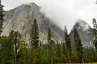 Cathedral Rock from El Capitan Meadow in Yosemite Valley on a stormy autumn day with low clouds. Image taken with a Nikon D300 camera and 18-300 mm lens (ISO 360, 18 mm, f/8, 1/250 sec).