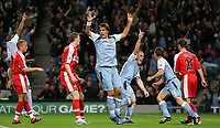 Photo: Paul Thomas.<br /> Manchester City v Middlesbrough. The Barclays Premiership. 30/10/2006.<br /> <br /> Richard Dunne (3rd R) and Man City celebrate his goal.