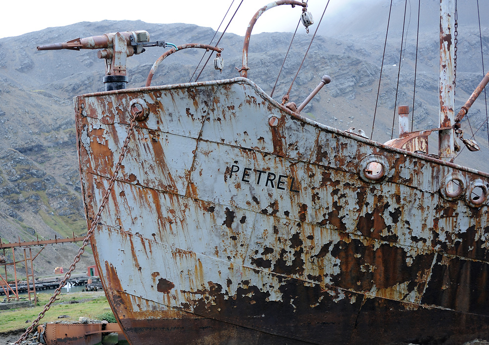 A harpoon gun mounted on the bows of the whaling boat Petrel beached in the ruins of the Grytviken whaling station. Grytviken, South Georgia 20Feb16