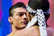 LAS VEGAS, NV - JULY 6:  Alan Jouban faces off against Belal Muhammad during the UFC Fight Night weigh-ins at T-Mobile Arena on July 6, 2016 in Las Vegas, Nevada. (Photo by Cooper Neill/Zuffa LLC/Zuffa LLC via Getty Images) *** Local Caption *** Alan Jouban