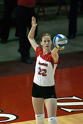 19 AUG 2006  Lindley McDavid sets up her serve. Northern Illinois Huskies got slammed by Illinois State Redbirds, losing the match 3 games to 1. Game action took place at Redbird Arena on the campus of Illinois State University in Normal Illinois.
